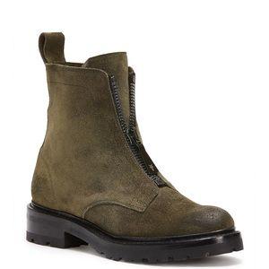 Frye Julie Zip Olive Green Combat Boots